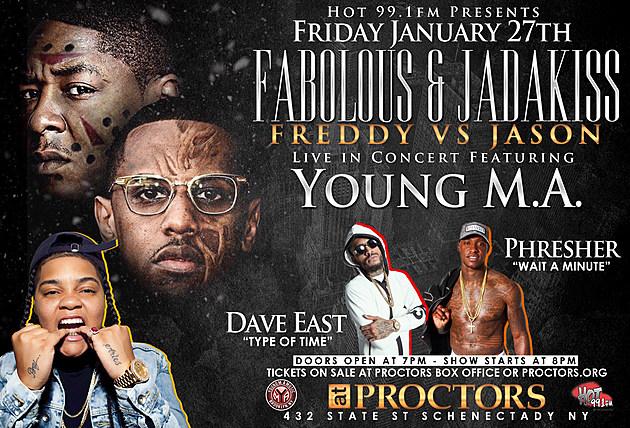 Hot 99.1 Presents Freddy Vs. Jason Flyer:  Fabolous & Jadakiss LIVE in Concert Flyer Back