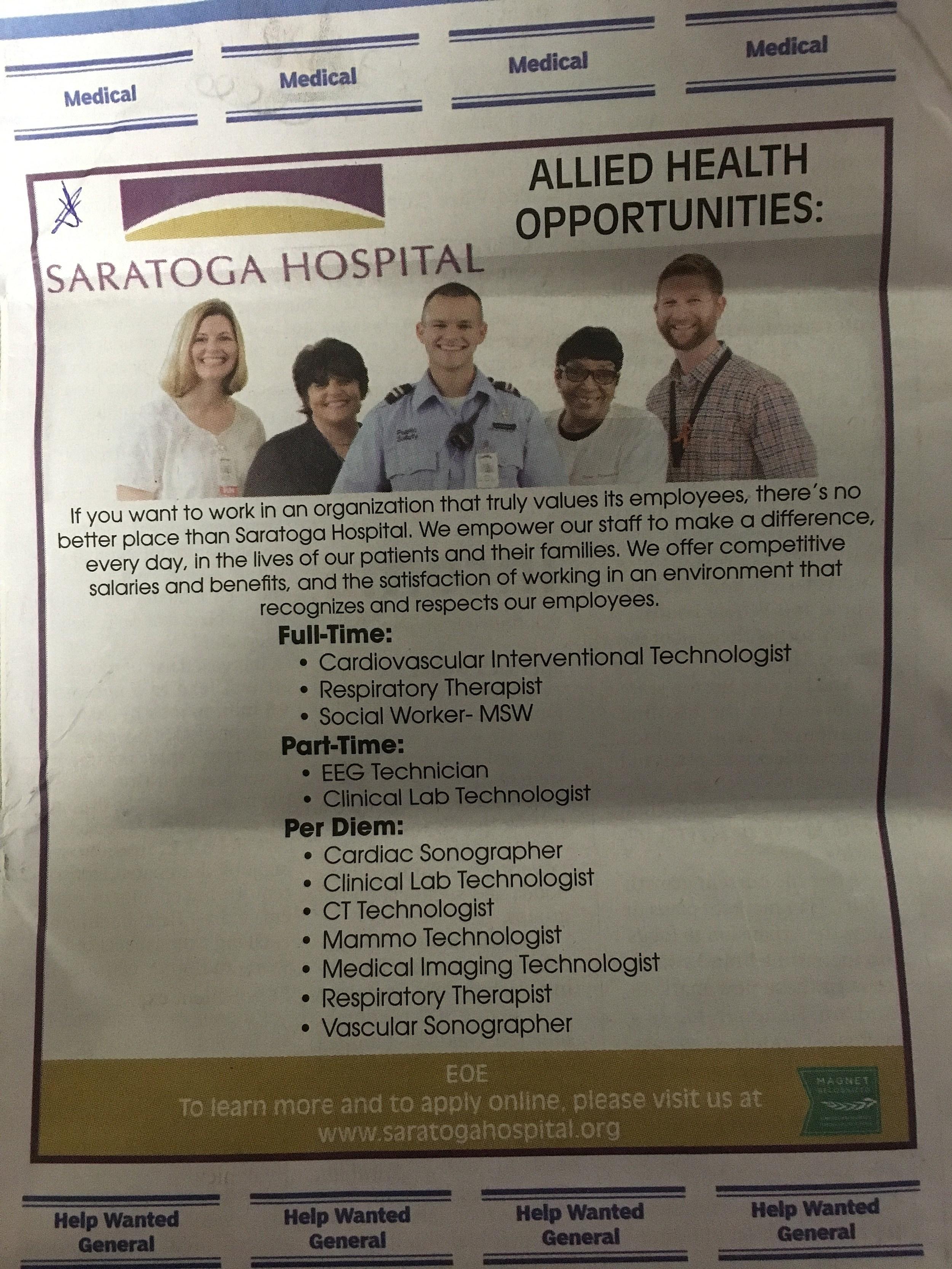 job staratoga hospital